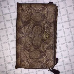 Coach double zipper wristlet/wallet